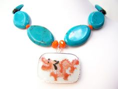 Chinese Dragon Necklace in Turquoise & Orange with Pottery Shard Pendant by polishedtwo, $28.00