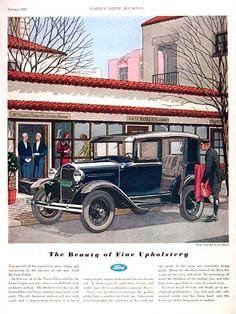 1931 Ford Deluxe Sedan original vintage advertisement. Gorgeous illustration in vibrant color. Highlights choice of luxurious interiors in tan Bedford cord or brown mohair. Rare vintage Ford ad!