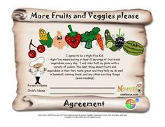 Children can make a commitment to eat healthier and be healthier with our kid-friendly healthy goals agreements. This goal contract is for children who would like to eat more fruits and vegetables.