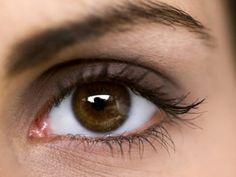 close up of a womans brown eye
