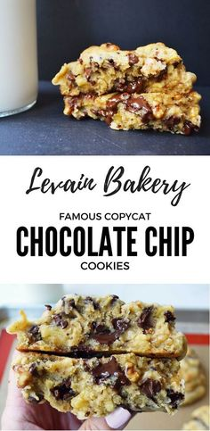 The perfect copycat cookie recipe from the famous New York City Bakery, Levain Bakery. The oversized chocolate chip cookies are unlike any cookie around and are the BEST chocolate chip cookies. This r (Chocolate Chip Cookies) Mini Desserts, Just Desserts, Delicious Desserts, Dessert Recipes, Yummy Food, Healthy Desserts, Frosting Recipes, Cake Recipes, Best Chocolate Chip Cookie