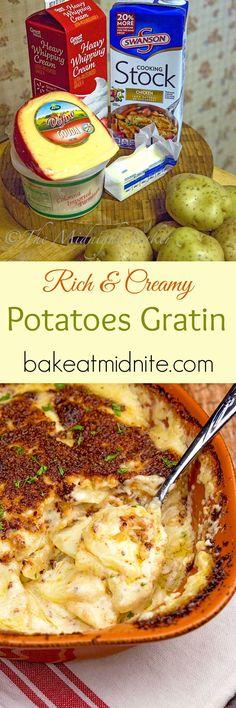 Scalloped Potatoes Gratin - The Midnight Baker Side Dish Recipes, Vegetable Recipes, Dinner Recipes, Potato Recipes, Appetizer Recipes, Appetizers, Potato Side Dishes, Vegetable Side Dishes, Food Dishes