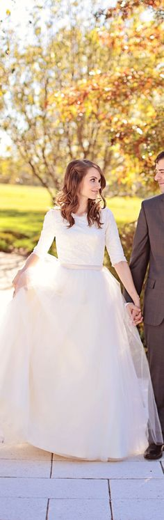 Long sleeve wedding gown with lace and tulle.  #weddingdress
