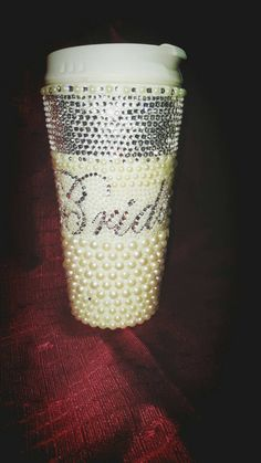 Bridal Rhinestone Bedazzled  Thermal Mug /Diamonds and Pearls w/Bride on the Front by DesginerKisses on Etsy