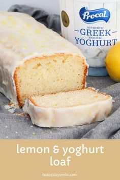 A simple one-bowl Lemon & Yoghurt Loaf with a deliciously tangy lemon glaze poured over the top. This is an all-time favourite school lunch box recipe. plus it's freezer-friendly too! Loaf Recipes, Lunch Box Recipes, Lemon Recipes, Sweet Recipes, Baking Recipes, Cake Recipes, Dessert Recipes, Greek Yoghurt Recipes, Over The Top