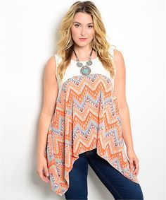 7feb56e1a2 Ivory Orange Plus Size Chic Flowy Sheer Color Blocked Chevron Sleeveless  Handkerchief Top at DHStyles Women s Online Shopping Super Store with  Discount and ...