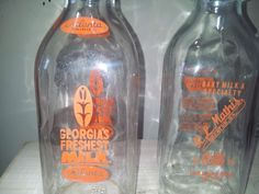 VINTAGE MILK BOTTLES 1QT ATLANTA DAIRY AND MATHIS DAIRY