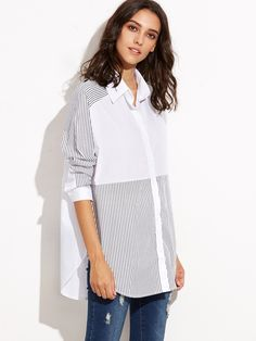 SheIn offers White Contrast Striped Curved Hem Shirt & more to fit your fashionable needs. Look Fashion, Hijab Fashion, Fashion Dresses, Indian Designer Suits, Fashion Forecasting, Mode Hijab, White Shirts, Diy Clothing, Refashion