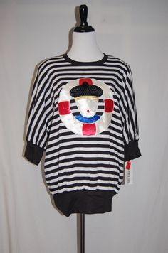 1980s Black and White Striped Hipster Shirt  by LittleGhostVintage, $28.00