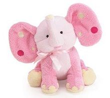 This adorable pink elephant plush baby rattle with polka dot ears is the perfect animal toy for babies to cuddle and rattle. Soft rattle sound entertains baby but doesn't annoy adults.