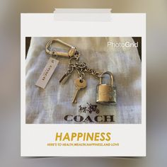 """Authentic Coach Lock & Key Keychain Last One Keychain in silver-tone dropped 5"""" lock H: 1-1/3"""" W: 1"""" and key H: 1"""" come with dust bag and gift box Coach Accessories Key & Card Holders"""