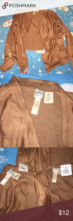 faux suede cardigan brand new i just ripped off the tags thinking i was going to where it and when i tried it on i didnt like it. cognac color. long sleeve super light and comfy! the last pic has the other two with the tags. Paper Crane Sweaters Cardigans