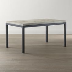 Concrete Top/ Natural Dark Steel Base Parsons Dining Tables | Crate and Barrel