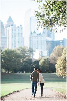 Piedmont Park engagement photos by top Atlanta wedding photographers Leigh and Becca