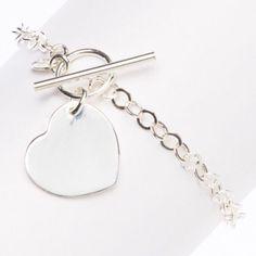 """Sterling Silver Heart Rolo Link Bracelet 7 1/4"""""""""""