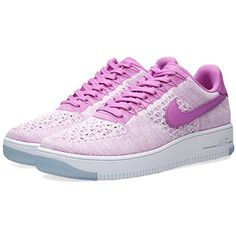 Nike W Air Force 1 Flyknit Low featuring polyvore, women's fashion, shoes, sneakers, nike trainers, nike, flyknit trainer, low profile shoes and leather low top sneakers