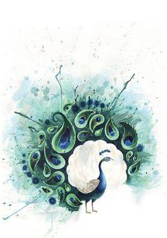 Circle Peacock Art Print by Tracey Cameron   Society6