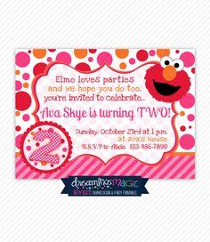 Printable Party Invitation Girly Elmo Pink Orange And Red Design Birthday Wording