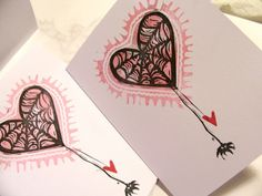 caught in your web of love hand printed linocut by craftyhag, $4.50