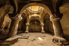 Geghard Monastery- carved out of rock Architecture Drawing Art, Beautiful Architecture, Medieval Castle, Medieval Fantasy, Armenian History, Ancient Buildings, Place Of Worship, Fantasy Landscape, Abandoned Places