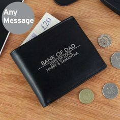 Father of the Bride or Groom Gift Idea - Personalised Wallet UK - Personalised Classic Black Leather Wallet