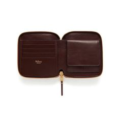 Mulberry - Compact Zip Around Wallet in Oxblood Natural Grain Leather