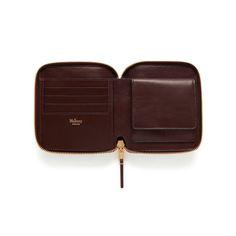 Compact Zip Around Wallet in Oxblood Natural Grain Leather | Men | Mulberry
