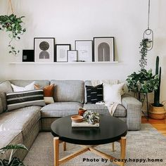 Boho Living Room, Living Room Grey, Ikea Living Room, Mid Century Modern Living Room, Modern Minimalist Living Room, Minimalist Decor, Modern Wall, Br House, Living Room Sectional