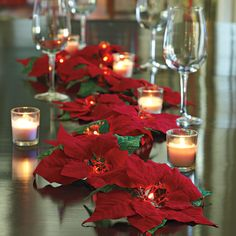 Lighted Poinsettia Garland Cordless! A new way to decorate with the holiday classic.