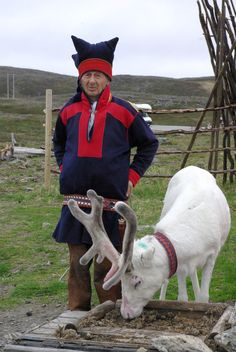 a Sami man with a reindeer - Finland - Suomi >… Alta Norway, Norway Sweden Finland, Finland Culture, Santa And His Reindeer, Folk Clothing, Lappland, Arctic Circle, First Humans, Historical Pictures