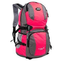 Hiking Outdoor Backpack Rucksack hiking camping backpack for men and women  red >>> You can find more details by visiting the image link. (This is an affiliate link) #CampingBackpacksandBags