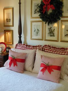 """""""…A Long Winter's Nap…"""" – Everyday Living   I love the wide ribbon around the pillows!"""