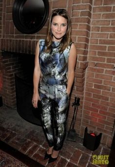 Sophia Bush wearing Christian Louboutin Pigalle 120mm in Black Patent and Escada Pre-Fall 2013 Jumpsuit.