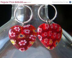 25% Off Red Millefiori Heart and Hoop Beaded Hook Earrings