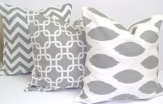 Gray Pillow Set.THREE PIECE SET.20x20inch.Pillow Cover Set for Throw Pillows.Printed Fabric Front and Back