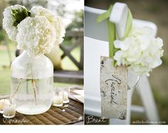 love the idea of mason jars with hydrangeas ( we could use those sangria jugs)