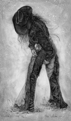 Cowgirl prints of western pencil drawings by Virgil C. Stephens