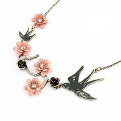 Refreshing Elegant Pink Flower and Bird Shape Pendant Necklace For Women $4.00
