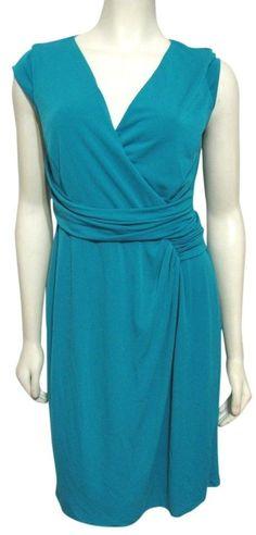 NWT ANN TAYLOR Teal Blue Ruched Dress sz 8 Women M $98 Sleeveless Stretch Wrap #AnnTaylor #Sheath #Casual