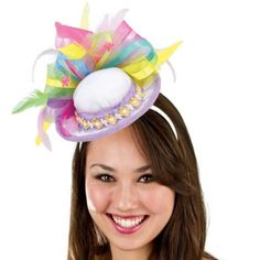 You're dressed in your Sunday best with an adorable Easter Fascinator Headband! This whimsical Easter bonnet in miniature form is attached to a white headband. Crazy Hat Day, Crazy Hats, Easter Hat Parade, Funky Hats, Silly Hats, Fascinator Headband, White Headband, Hat Party, Headbands