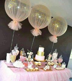 Wedding ideas.  Sparkly tulle balloons