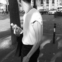 Pics Of My Favorite Geometric Tattoos - Mikela Memoirs Line Tattoo Arm, Straight Line Tattoo, Arm Band Tattoo, Black Tattoos, Small Tattoos, Tattoos For Guys, Body Art Tattoos, Hand Tattoos, Tatoos