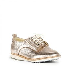 Derby Kids Leather Sneaker - Rose Gold Metallic