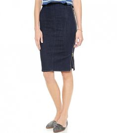 The chicest denim skirt to wear this fall and beyond. // The Body Con Zipper Skirt by MiH