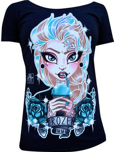 "Women's ""Frozen"" Scoop Neck Tee by Black Market Art (Black) #InkedShop #frozen #tee #top #scoopneck #style #fashion #womenswear #womensclothing"