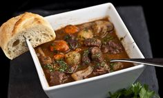 French Beef Stew (Boeuf Bourguignon) - Chew Out Loud - Looks delicioussss! French Beef Stew Recipe, Food Network, Beef Recipes, Cooking Recipes, Cooking Beef, Smoked Bacon, Soups And Stews, Entrees, Main Dishes