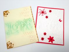 Hand made cards: Do what you Love - Love what you do - embossed card - encouragement cards - Wcards by Wcards on Etsy