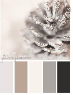 Elegant Winter Hues Warm Grays, Off White, Silver, Black, Khaki and A Hint Of Shimmer Color Scheme Palette - Decoration for House Colour Schemes, Color Combos, Colour Palettes, White Christmas, Christmas Time, Xmas, Christmas Decor, Elegant Christmas, Thanksgiving Holiday