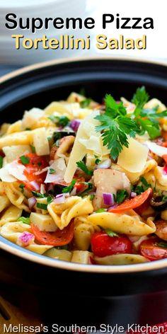 Potluck Recipes, Easy Dinner Recipes, Pasta Recipes, Salad Recipes, Cooking Recipes, Greek Tortellini Salad, Pasta Salad Italian, Italian Soup, Italian Recipes