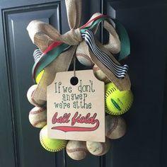 Baseball Wreath Burlap With Initial Made Using Real Leather Wreath Burlap, Monogram Wreath, Burlap Ribbon, Softball Wreath, Baseball Wreaths, Coach Gifts, Team Gifts, Baseball Party Supplies, Baseball Nursery